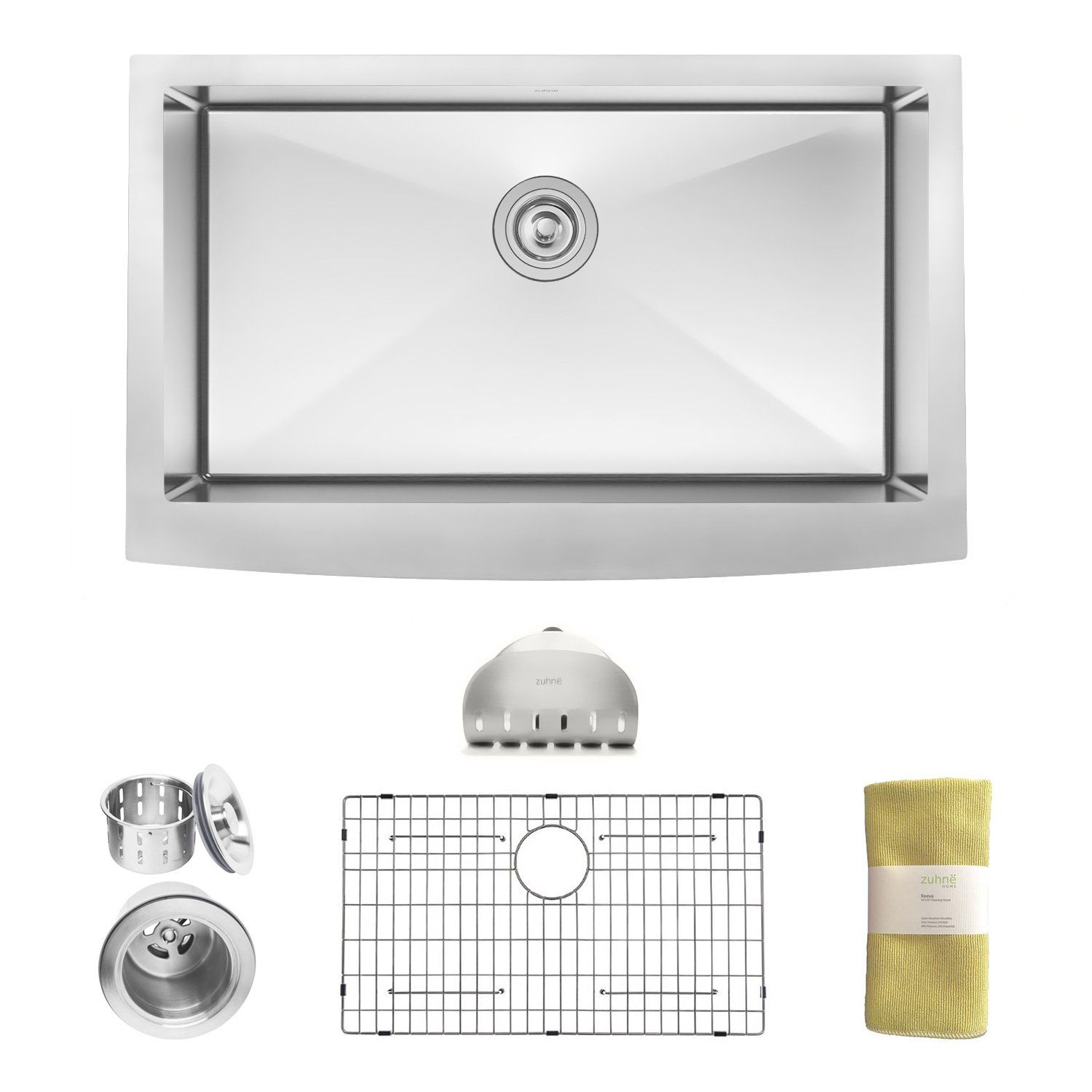 Zuhne 33 Inch Farmhouse Apron Deep Single Bowl 16 Gauge Stainless Steel Luxury Kitch Apron Front Stainless Steel Kitchen Sink Stainless Steel Kitchen Sink Sink