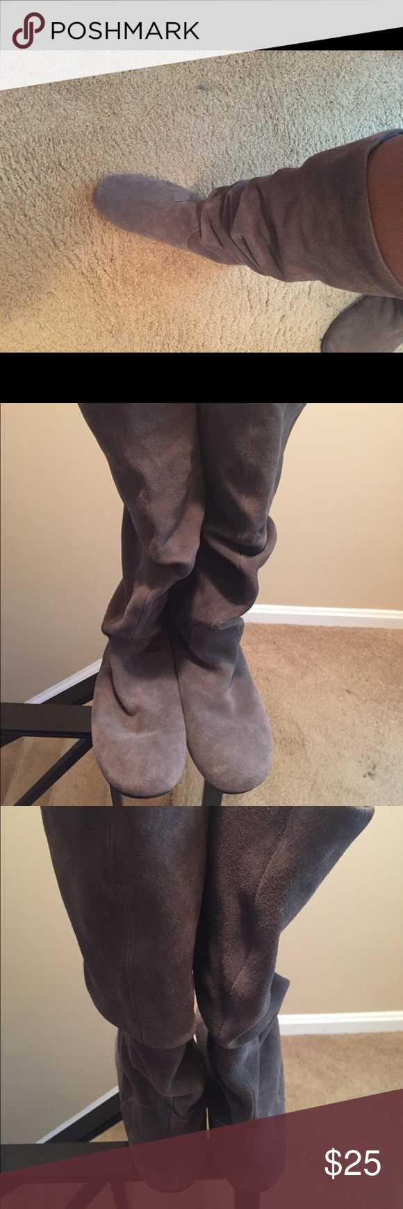 Gray Suede Mid Calf Boots Gray Suede Mid Calf Boots Size 9.5. Good condition. Minor scuffs from wear. Worn 5x. No Trades. I do not have the original box. Shoes
