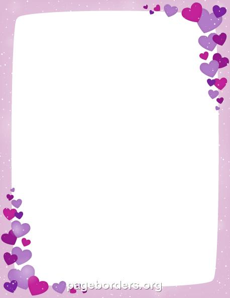printable purple valentine border use the border in