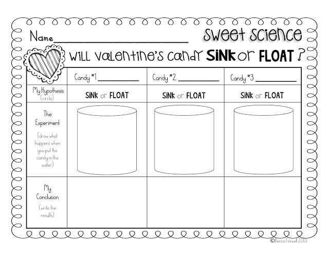 Valentine Candy Sink Or Float Experiment With Freebie