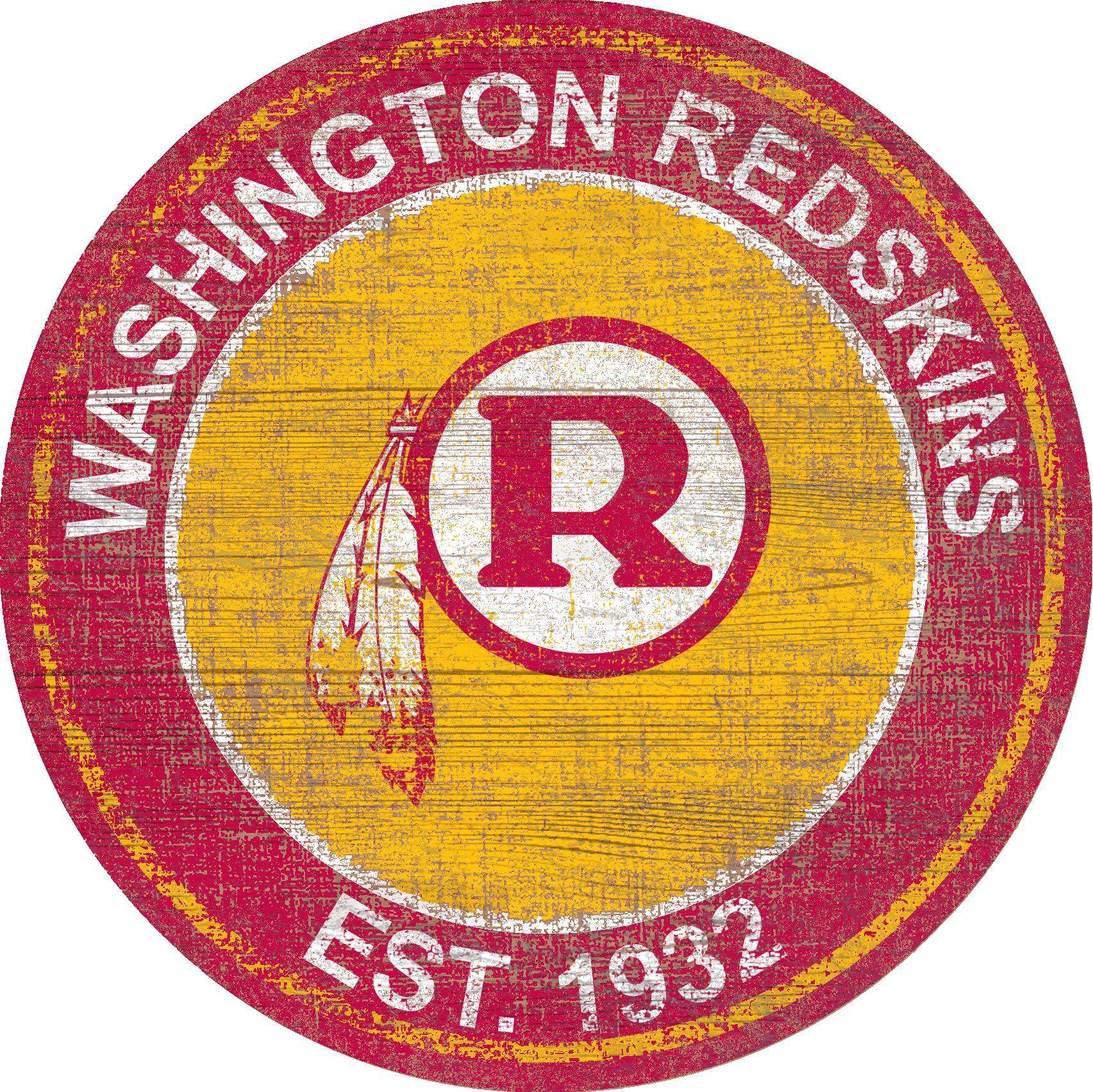 "Washington Redskins Heritage Logo 24"" Round Wall Art (With"
