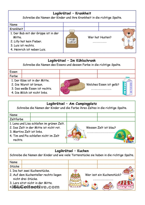 Logikrätsel 02 (+Lösung) | Lesen, rechnen, malen | Pinterest ...