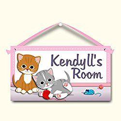 Kitten Sign Kids Door Sign Personalized Room Plaque