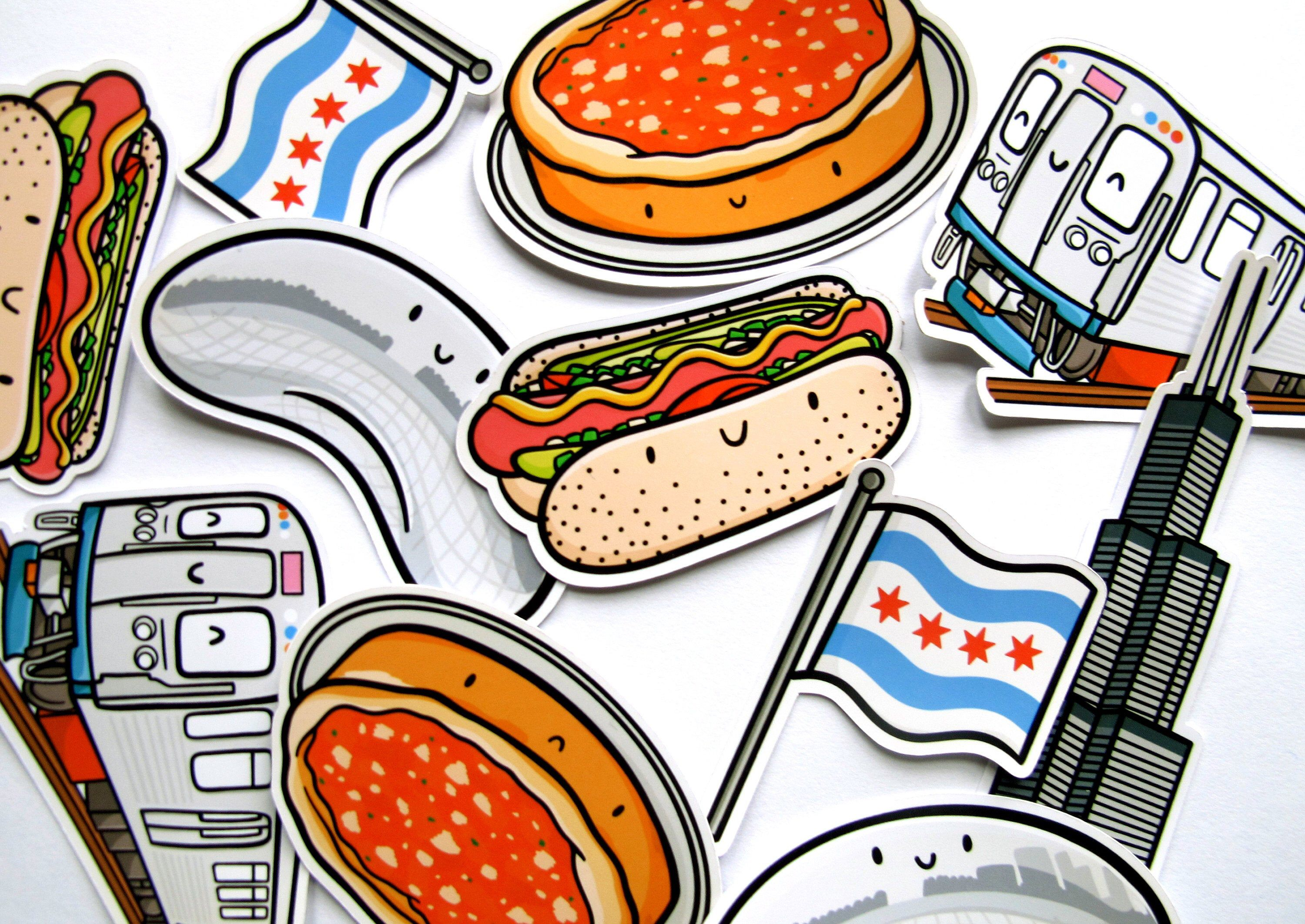 Chicago Sticker Pack Chicago Gifts The Bean Illinois Chicago Style Pizza Chicago Hotdog Sears Tower Chicago Gifts Chicago Style Pizza Chicago Style [ 2124 x 3000 Pixel ]