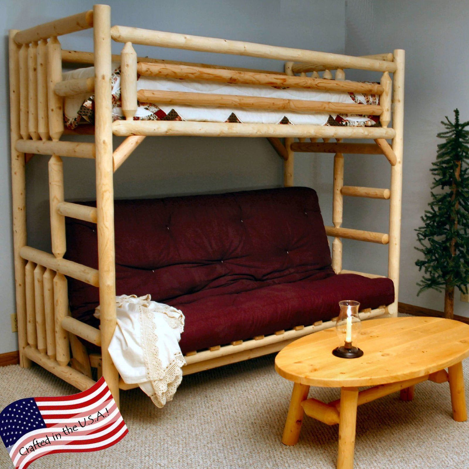 Lakeland Mills Rustic Twin Over Futon Bunk Bed 1329 99