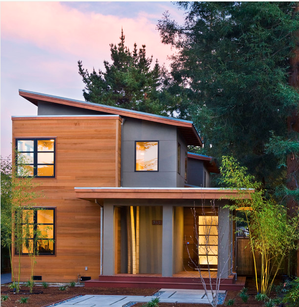 Interesting modern wood house new england modern house - Types of exterior finishes for homes ...