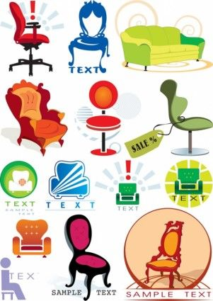 Vector Graphics Theme Chair Patterned Chair Furniture Logo Vector Free