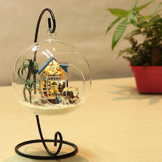 BRICOLAGE verre boule maison verre maison Miniature par UniTime - bricolage a la maison