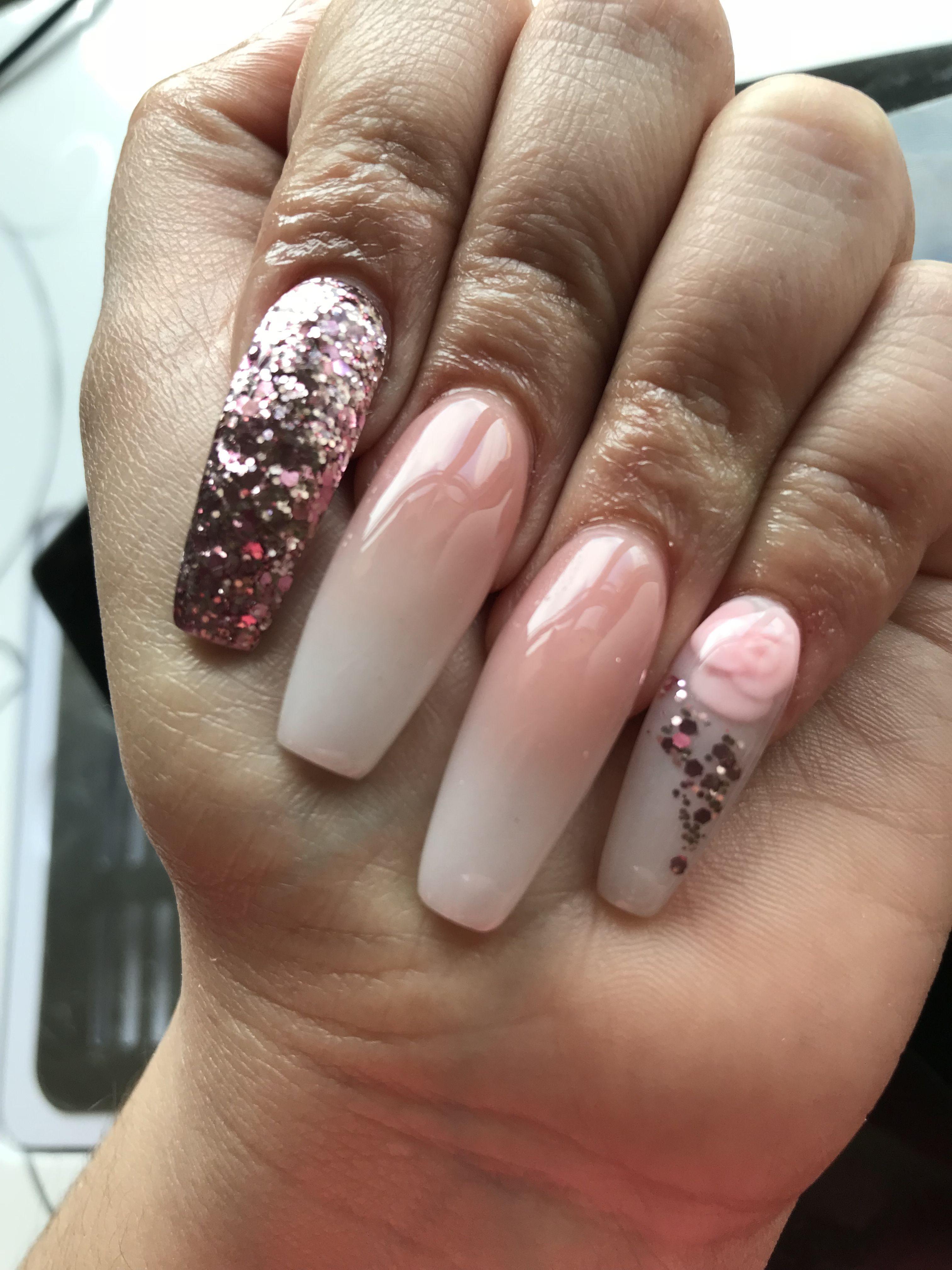 Coffin shape nails, long nails, nail art, glitter nails, French ...