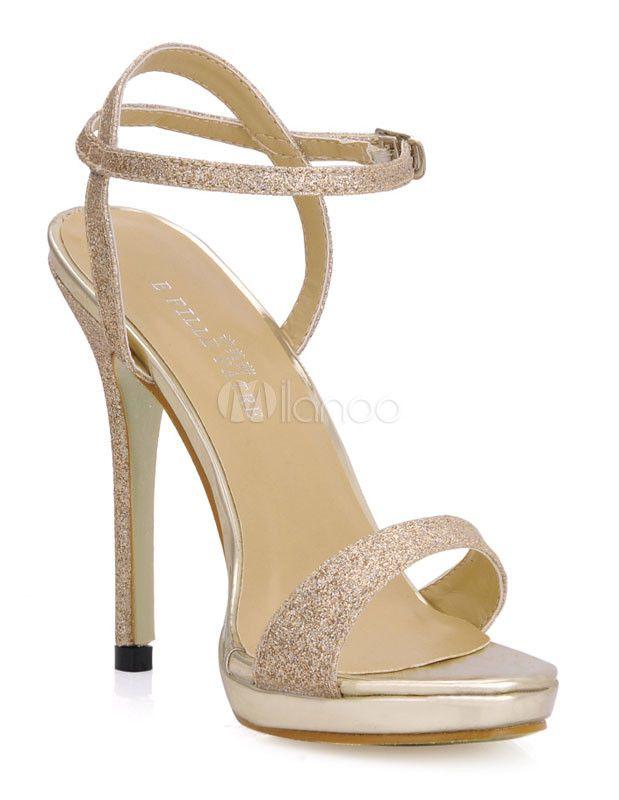 New Look Mujer Fiesta Peep Toe Purpurina Tira EN Tobillo Zapatos formales - Oro, 19 EU