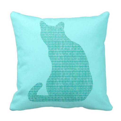 Arabesque Cat - shades of turquoise Throw Pillows