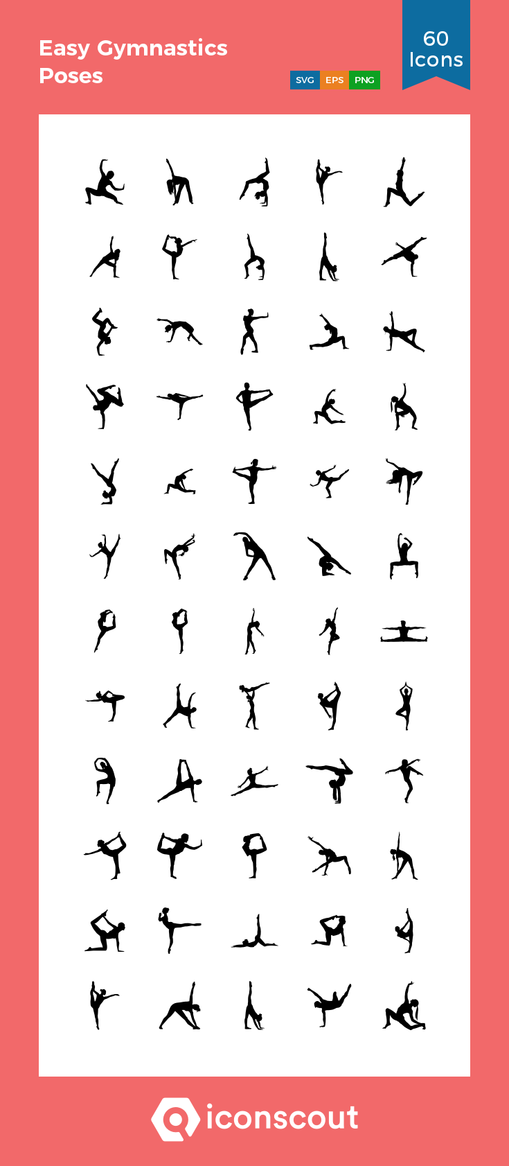 Easy Gymnastics Poses  Icon Pack - 60 Glyph Icons