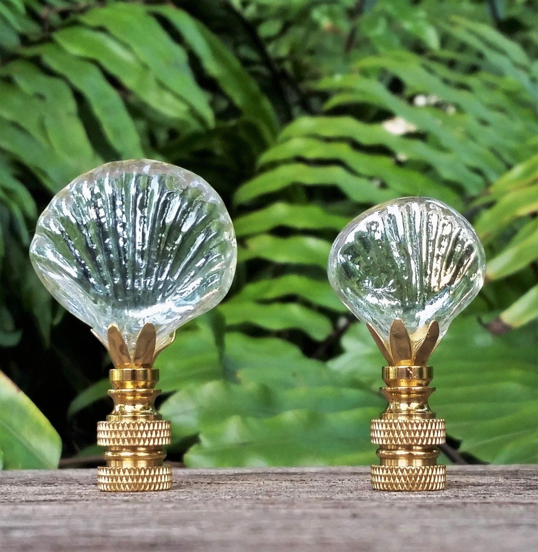 Clear Glass Seashell Lamp Finial Lamp Finial Small Lamp Shades Seashells Lamp