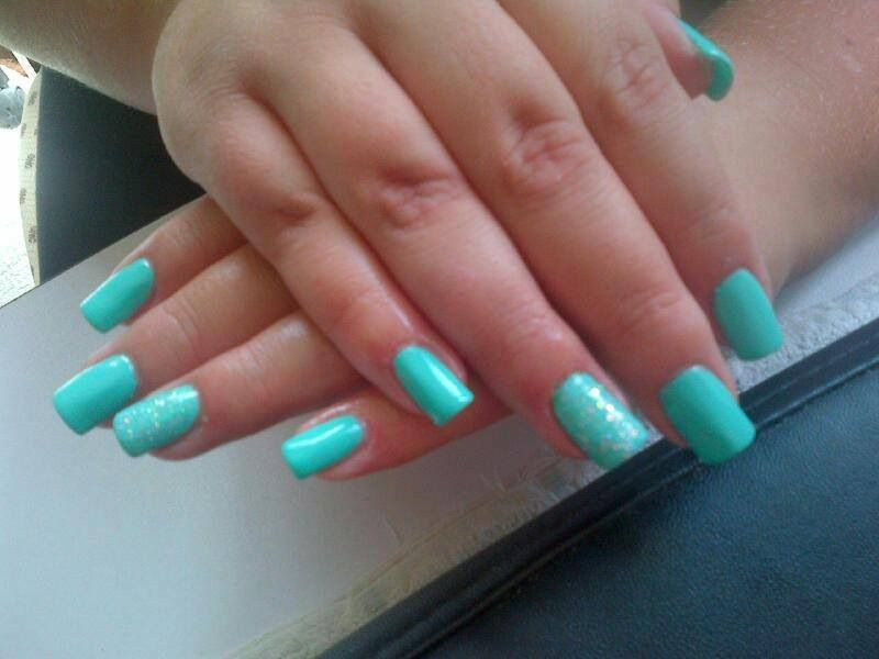 Mint green and glitter ring fingers