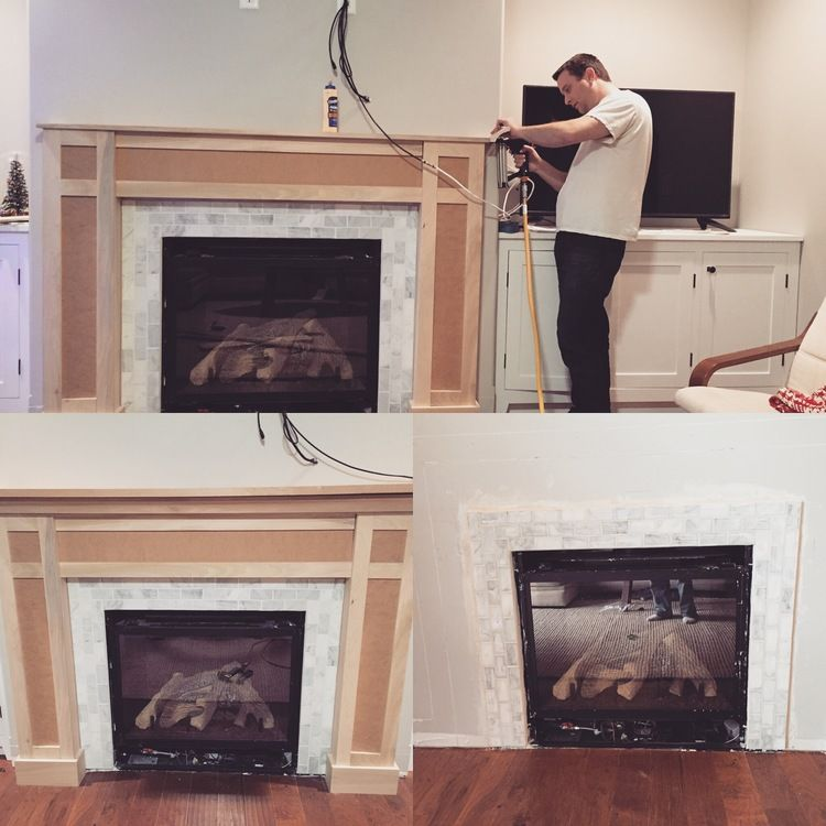 Custom white shaker style cabinets and fireplace surround. Corian ...