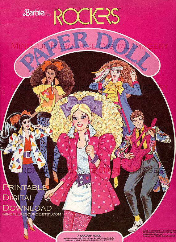 Barbie Paper Doll Rocker Retro 80s Fashion Vintage