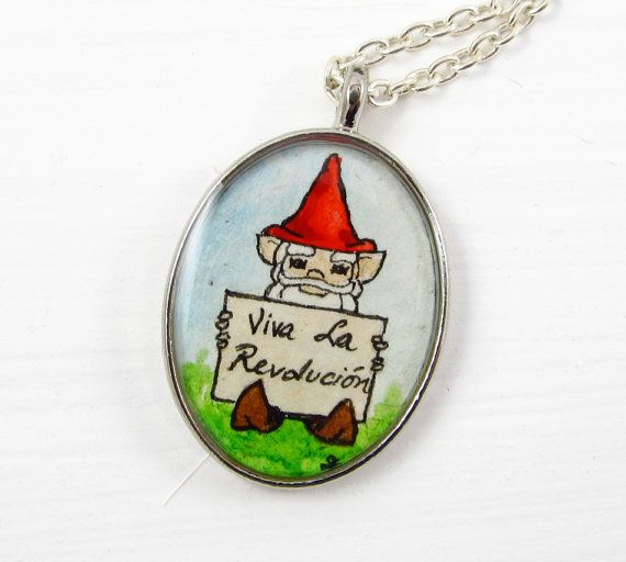 """""""Viva La Revolucion!"""" ...the gnomes are revolting. Hand painted necklace by TuckooandMooCow."""