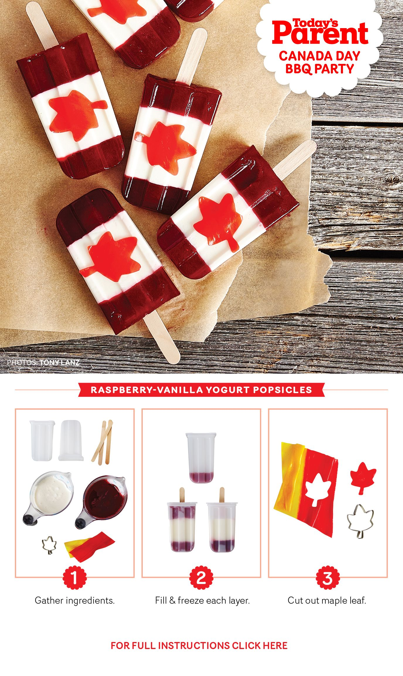 Make these super easy Canada Day Popsicles! Canada day