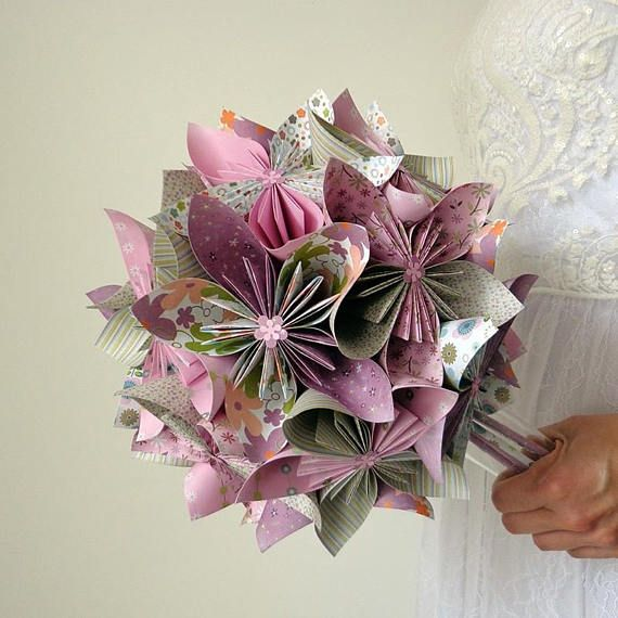 Rustic bridal bouquet origami – country vase origami wedding bouquet – kusudama origami eternal wedding bouquet
