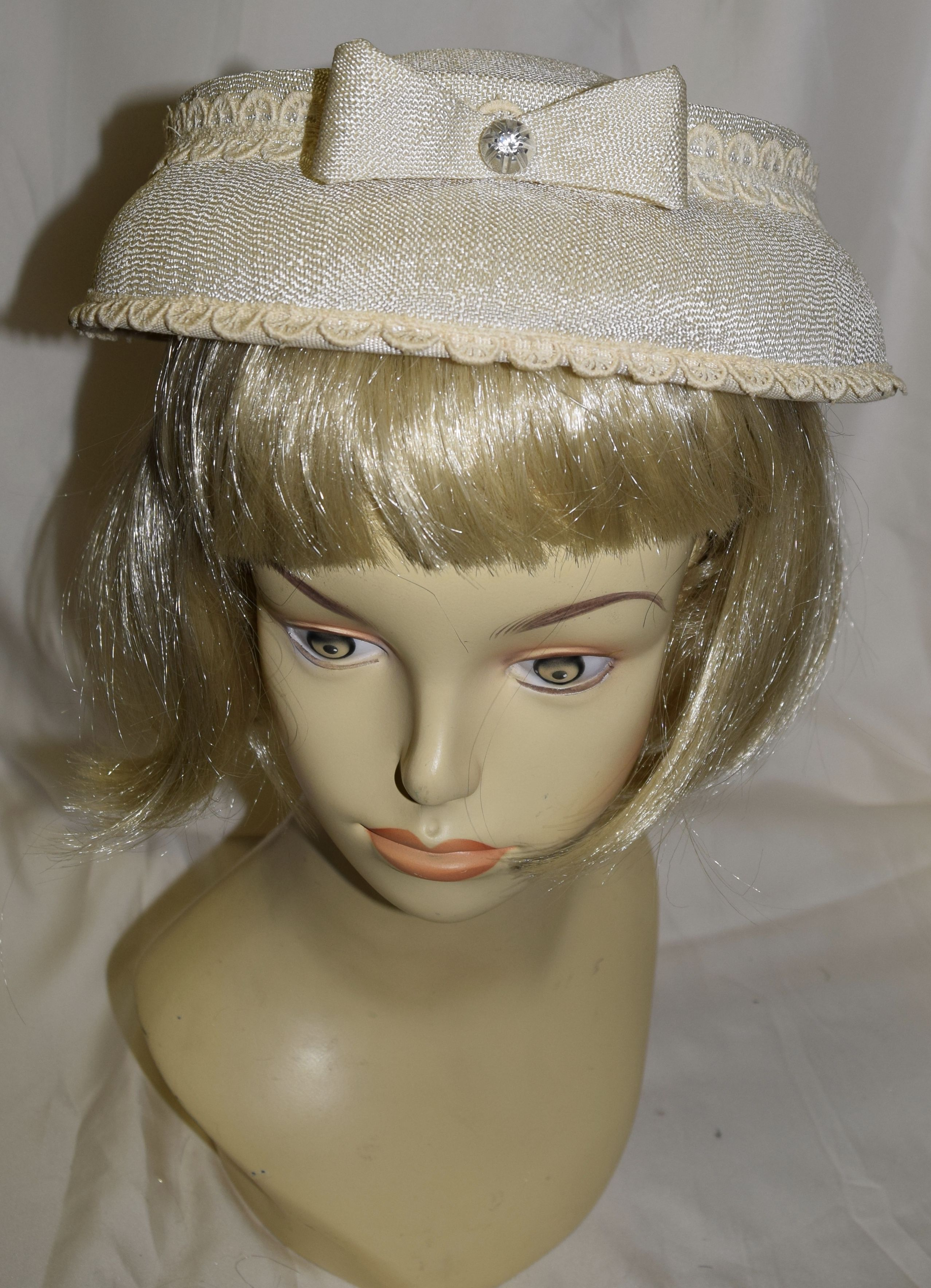f2666358691 Vintage Beige with Lace Fancy Summer Hat