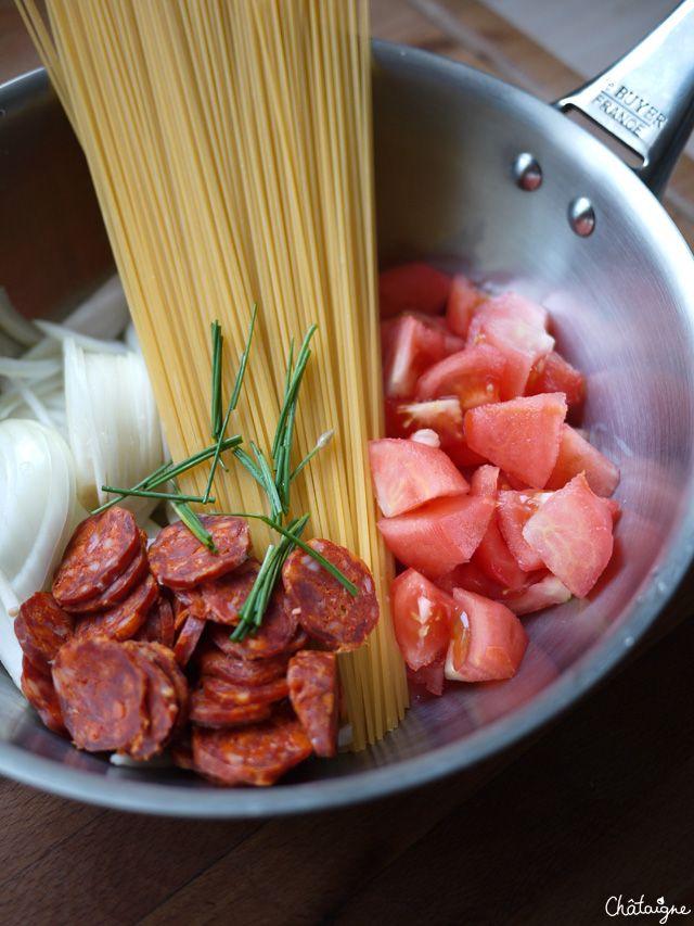 One-Pan Pasta au chorizo [from Martha Stewart