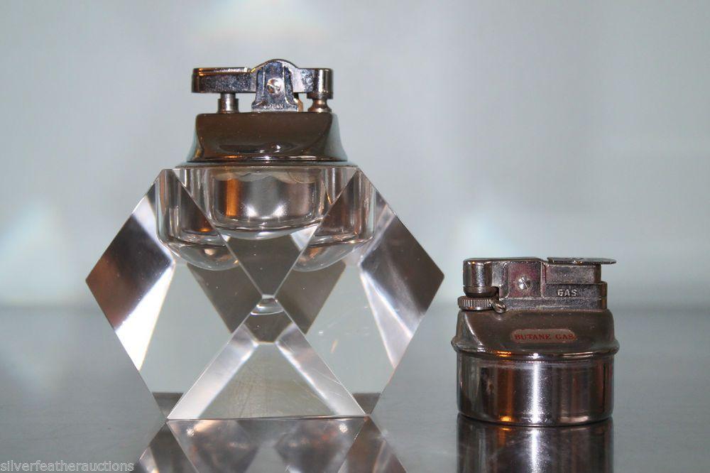 Vintage Mid Century Crystal Glass Table Lighter W Butane 2 Inserts Japan Nesor Glass Table Light Table Crystal Glass