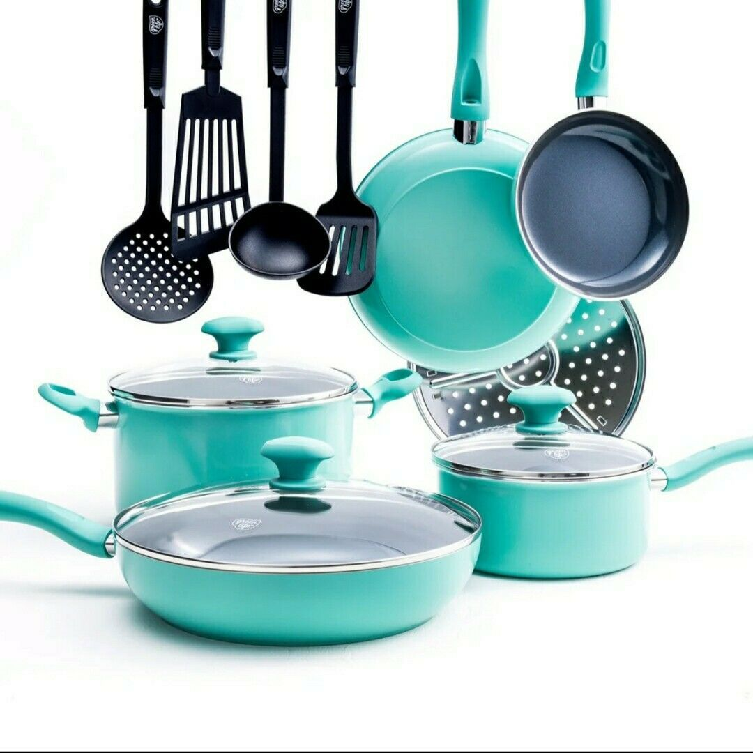 Green Life Toxin Free Healthy Ceramic Nonstick Cookware Set Pots Pans 13 Piece Ebay In 2020 Ceramic Nonstick Cookware Cookware Set Ceramic Non Stick