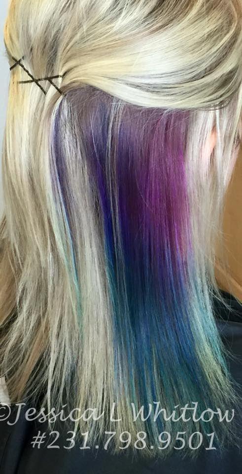 Fun Hair Peacock Colors Purple Blue Teal Pink Blonde Hair