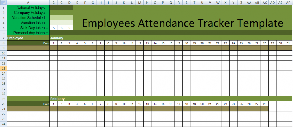 Printable Employees Attendance Sheet Templates Calendar ...