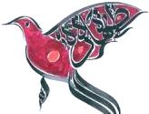 calligraphie d'oiseau rouge