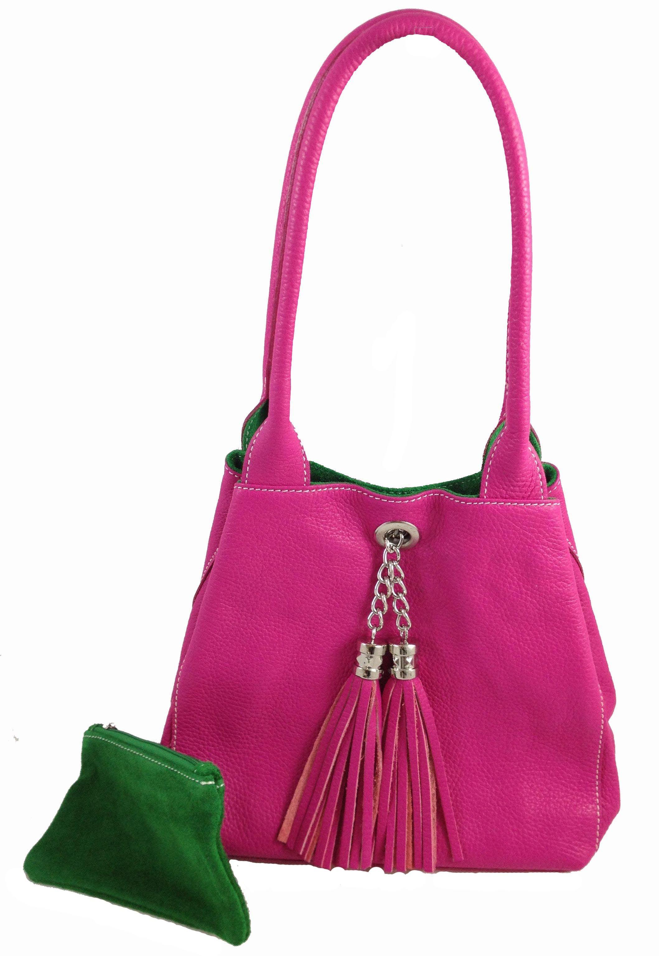 Every Needs Pink In Her Live Reversible Leather Suede Italian Handbag Bright Fuchsia Green Reversibleleatherhandbag