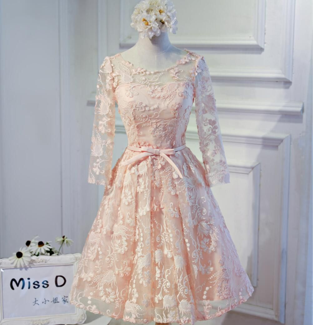 Long sleeve light peach open back lace cute homecoming prom dresses
