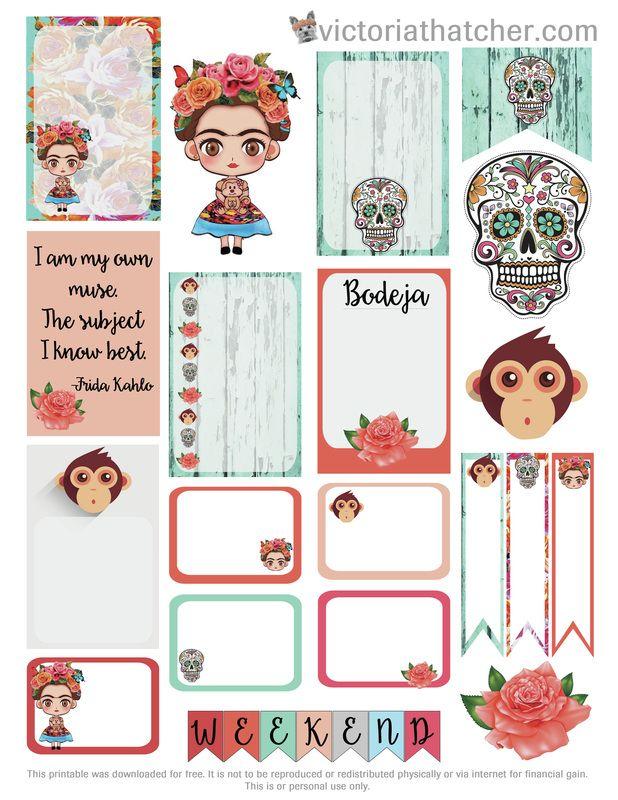 Free printable frida kahlo planner stickers victoria for Decoraciones para hojas