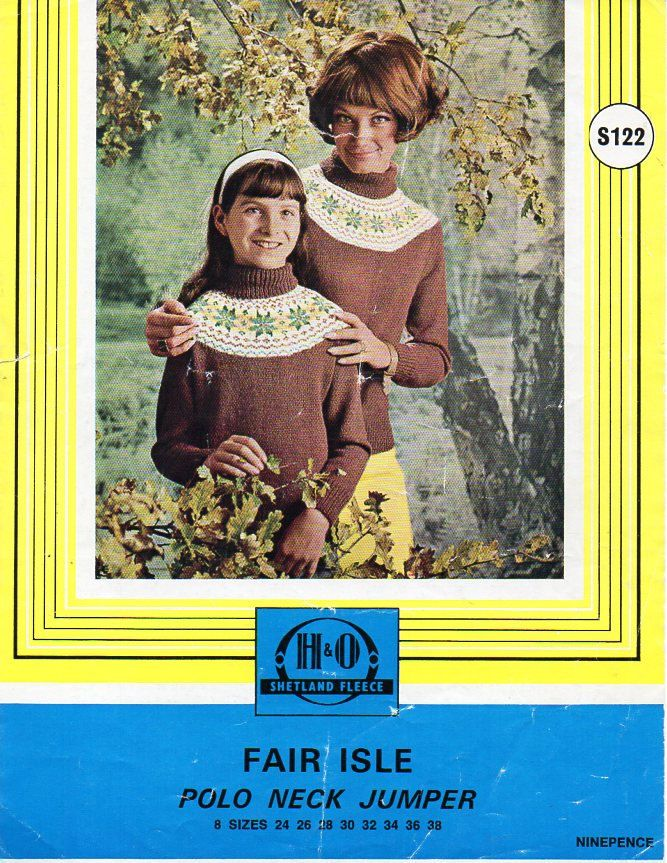 908ab7353d11c ladies fair isle sweater knitting pattern pdf womens 4ply fairisle jumper  Vintage 60s polo neck fair isle yoke 24-38 inch 4ply download by ...