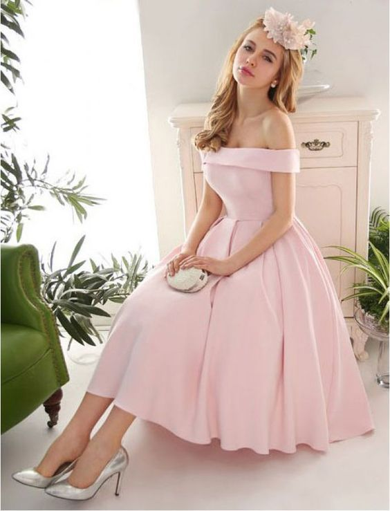 Pink Prom Dress,Off the Shoulder Prom Dress,Fashion Prom ...