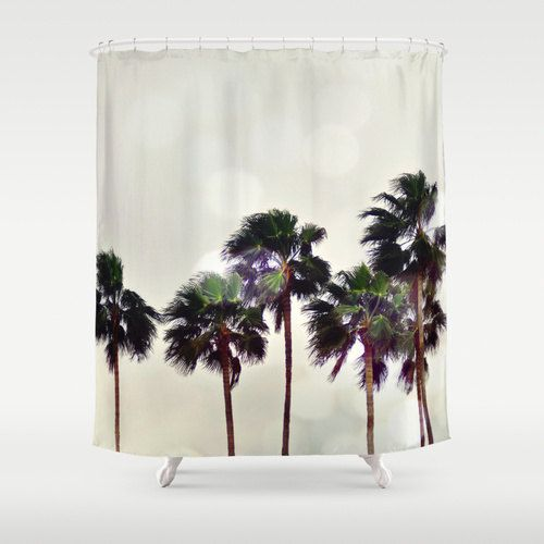 Shower Curtain Beach Decor Palm Tree Landscape Curtain Light Gray Amp Green Boho Coastal Surf