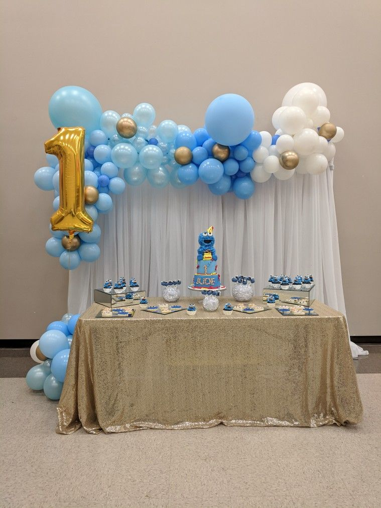 First birthday, cookie monster theme, organic balloons