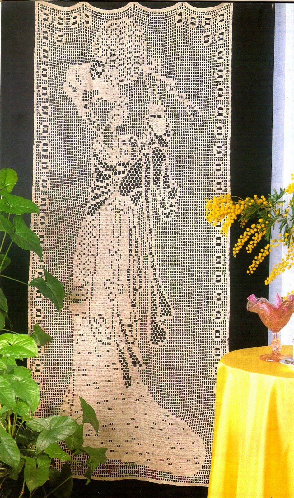 Tejidos artesanales en crochet cortina japonesa tejida en - Tejidos de cortinas ...