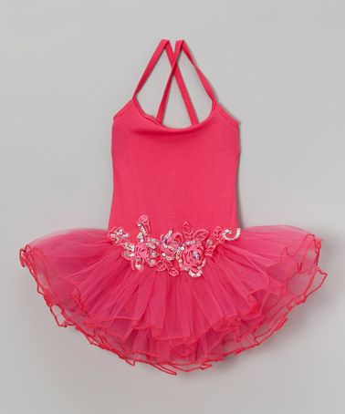 a206170ff Look what I found on  zulily! Hot Pink Sequin Flower Skirted Leotard ...