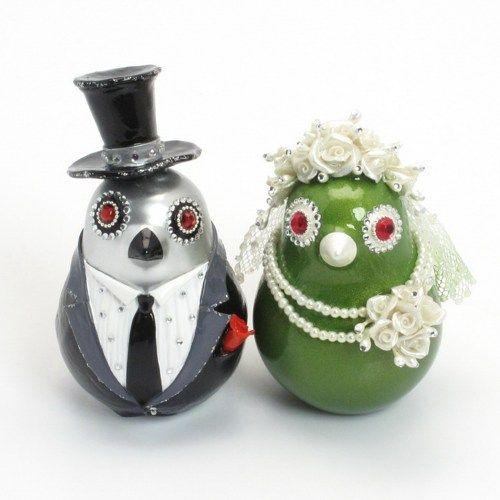 Silver and Lemon Green Love Birds Wedding Cake Topper Handmade B00013