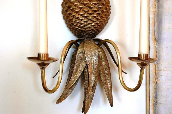 BRASS PINEAPPLE ELECTRIC WINDOW CANDLESTICK LAMPS SET OF TWO