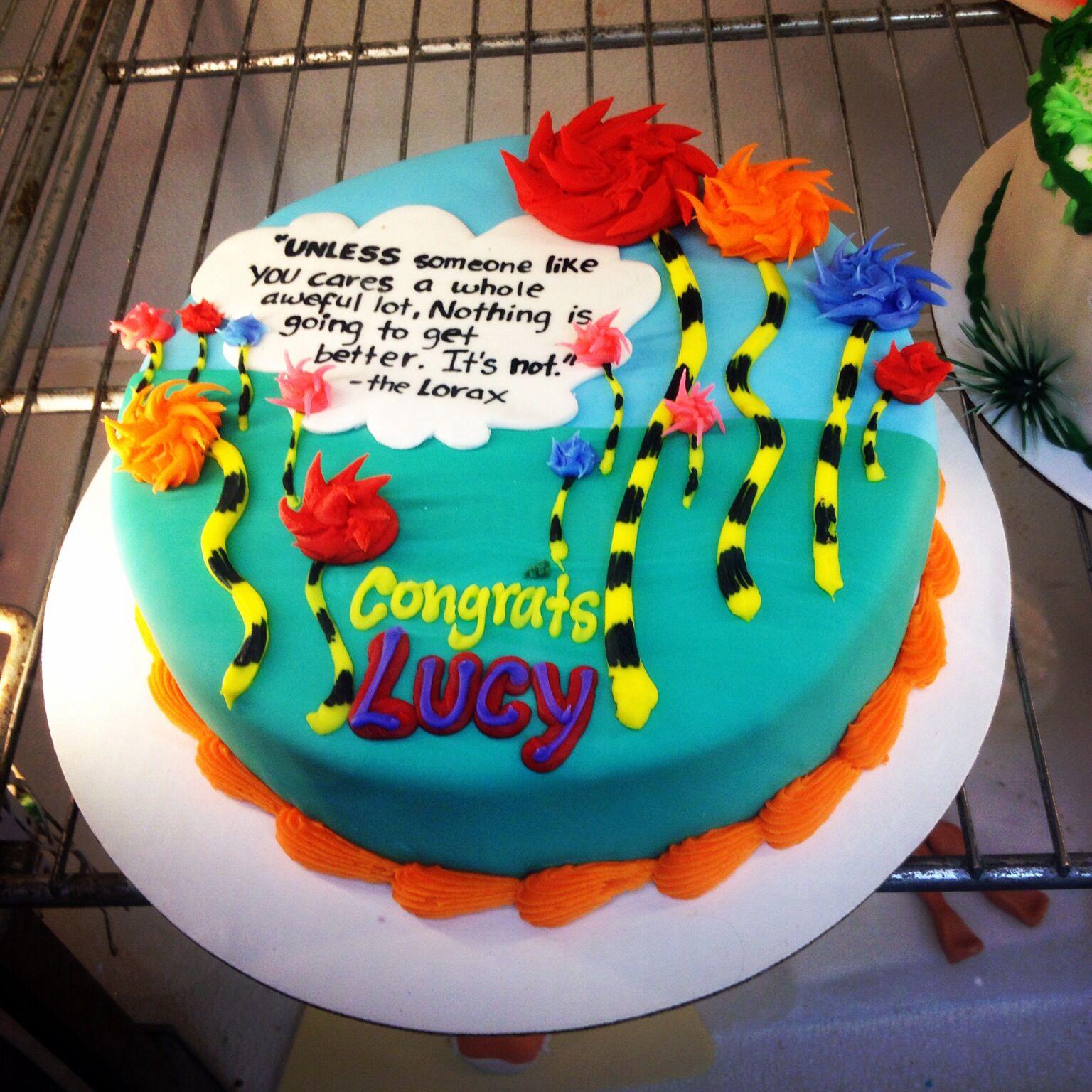 Graduation cake #thelorax, #drseuss, #graduationcake,
