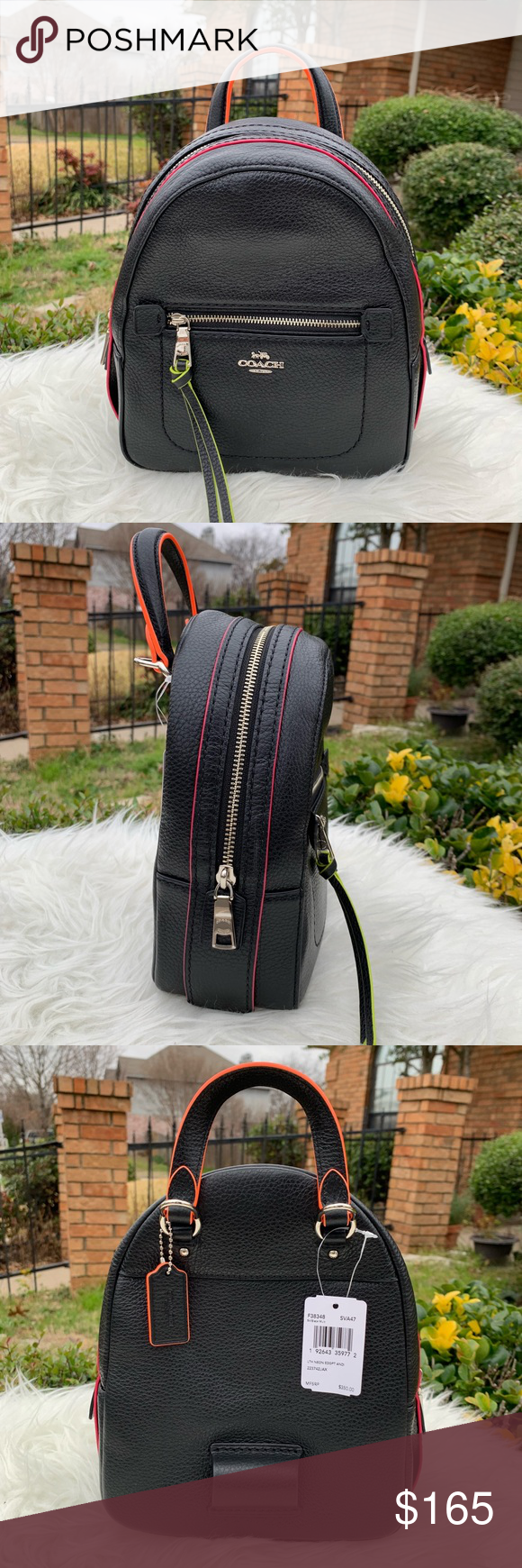 """93bd429c99f5 Coach F38348 Black/neon Andi Backpack Details Refined pebble leather Inside  multifunction pocket Zip-top closure, fabric lining Top handle with 2"""" drop  ..."""