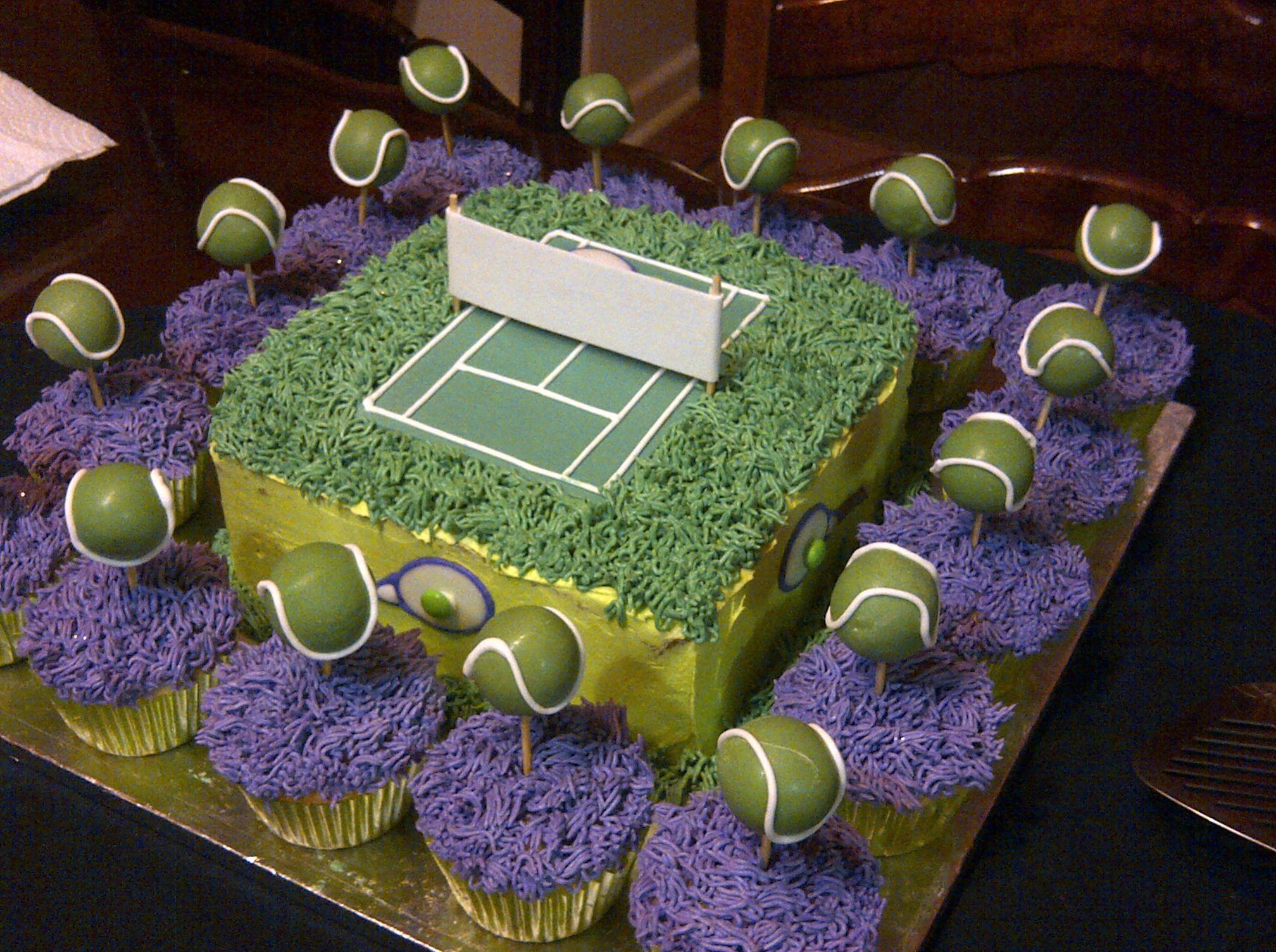 Tennis Court Cake With Cupcakes And Cakepop Tennis Balls Cake