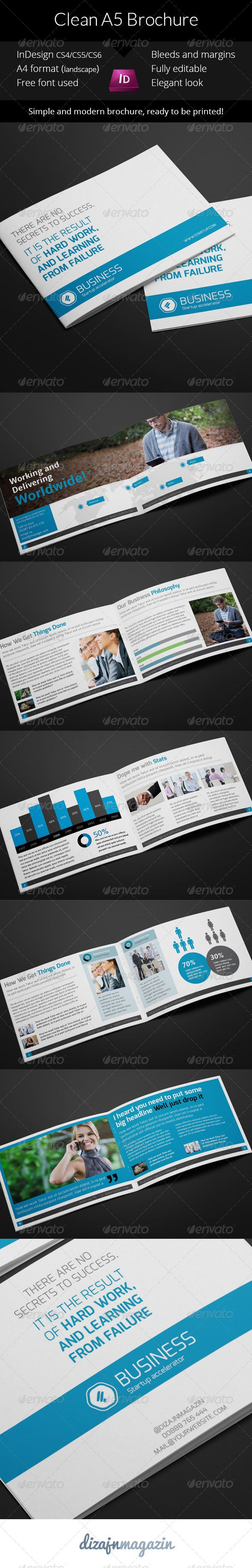 Clean Business A5 Brochure - InDesign Template | Indesign templates ...