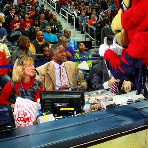 Dominique Wilkins and his cake at courtside...Happy birthday 'Nique!!!