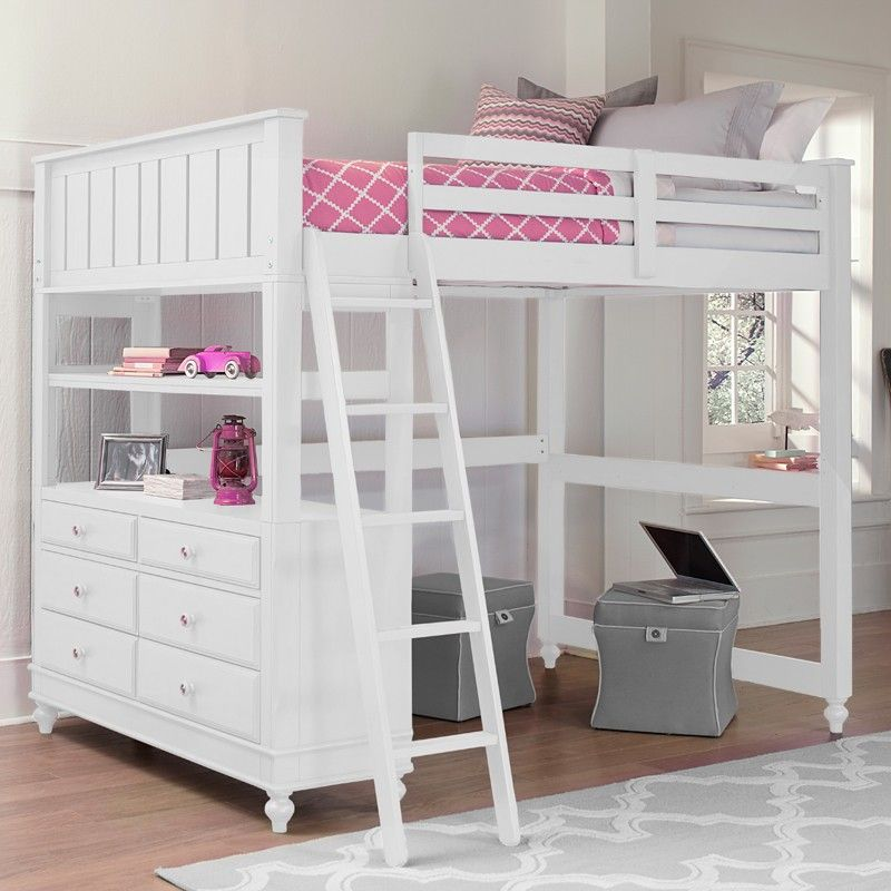 White Lake House Loft Bed Loft Bunk Beds Kids Loft Beds Twin Loft Bed White loft bunk bed
