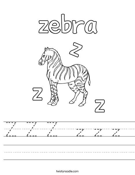 Z Z Z z z z Worksheet - Twisty Noodle | Worksheets, Kids ...