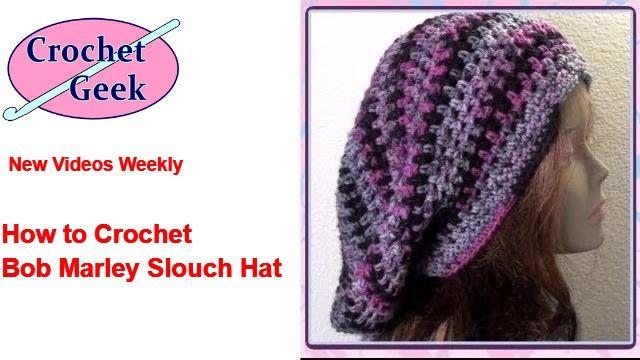 How to make Crochet Bob Marley Slouch Hat Tutorial #CrochetGeek ...