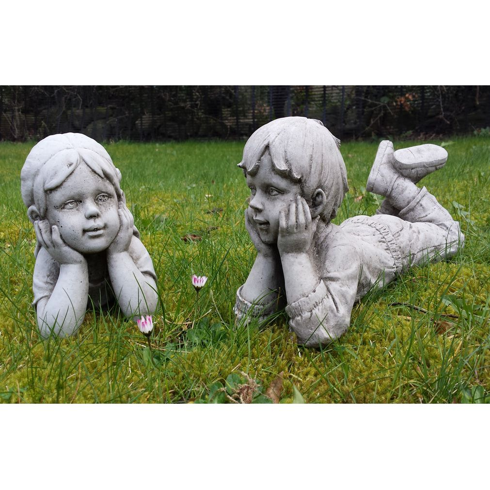 This Eye Catching 2 Piece Ornamental Stone Garden Statue Comprises Of A  Sweet Little